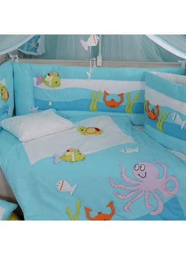 Aquarium_Light Blue Uyku Setı 8 Parça (80X140)-Aybibaby